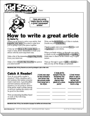 newspaper article writing for students - Writing a News Article ...
