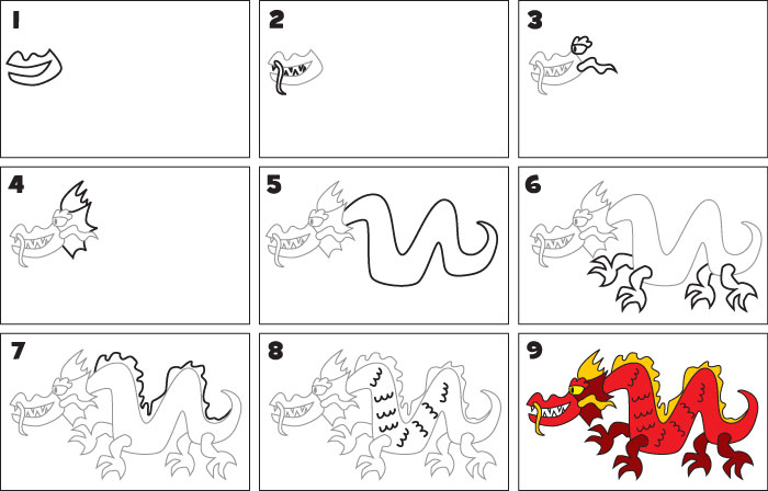 Dragons Drawings For Kids How to Draw a Chinese Dragon