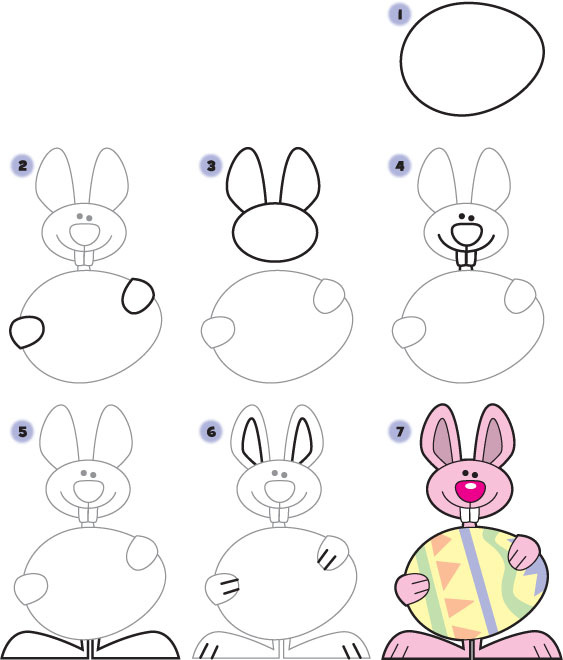 How To Draw An Easter Bunny Kid Scoop