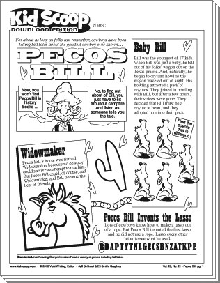 photograph regarding Printable Tall Tales known as Pecos Monthly bill