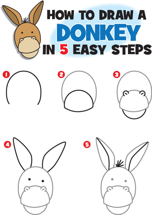 How to Draw a Donkey | Kid Scoop