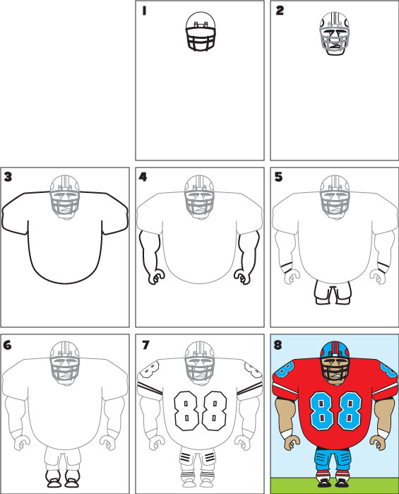 How To Draw A Football Player Kid Scoop