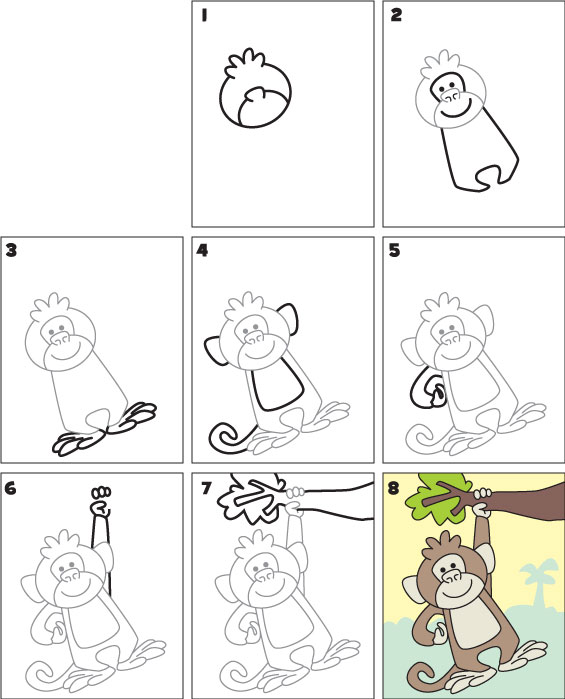 How To Draw A Monkey Kid Scoop