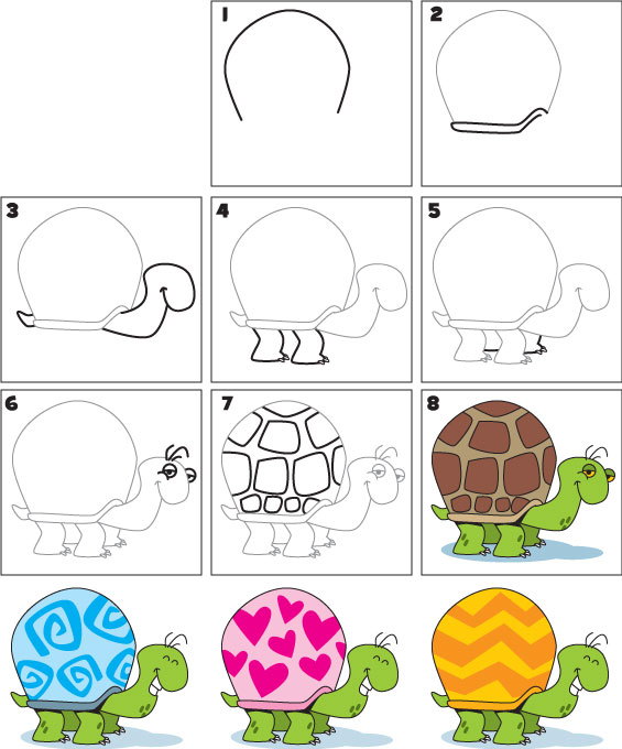 How To Draw A Turtle Kid Scoop