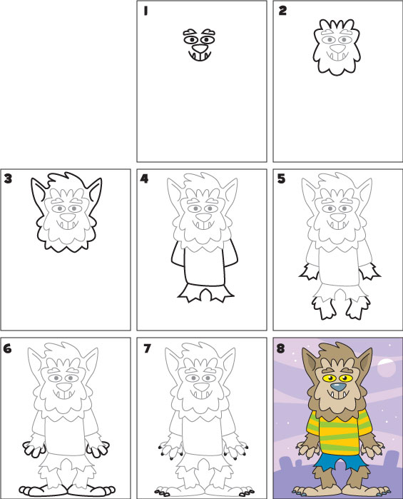 werewolf pictures to draw