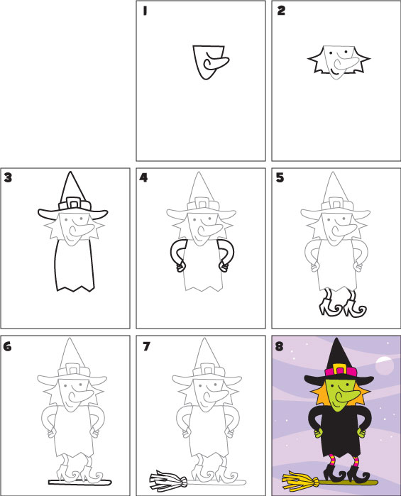 How To Draw A Witch Kid Scoop