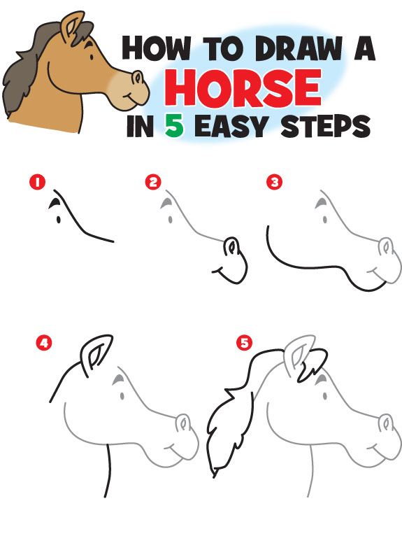 Delightful Kid Scoop How To Draw A Horse